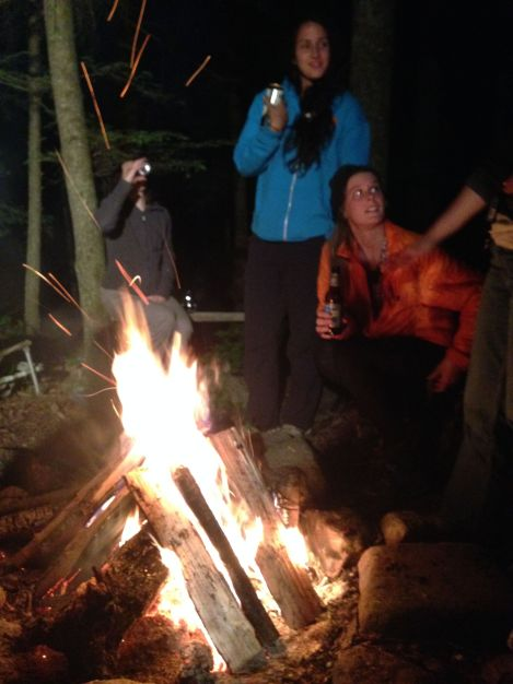 Bonfire, beer and s'mores.