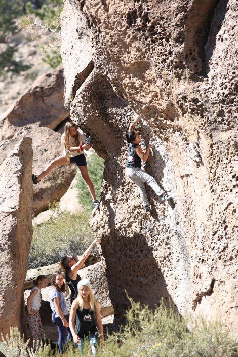 The CIRCA girl crew climbing at The Dreamers, Bishop, CA. Photo by: Phil Hayes