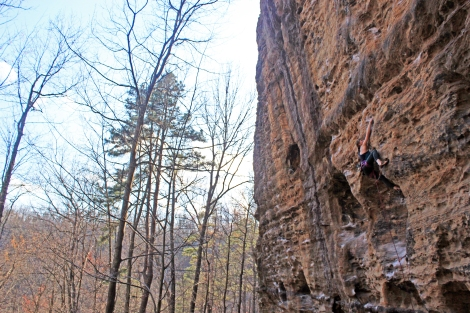 Buddha Hole (5.11d). Red River Gorge. Photo by: Shelma Jun