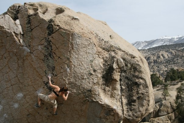 A sport climber, sometimes a boulderer. Making moves on Checkerboard back in 09. photo by Dan Michels.