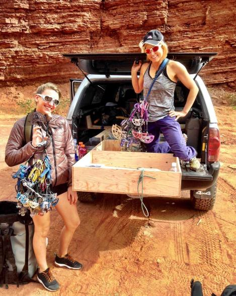 Pamela Pack and I racking up in Moab.