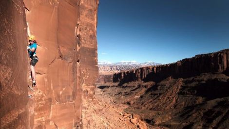 "Photo by George Bruce Wilson of Three Peak Films. First Ascent of ""All Hell Breaks Moose,"" 5.13 R. Moab, UT."