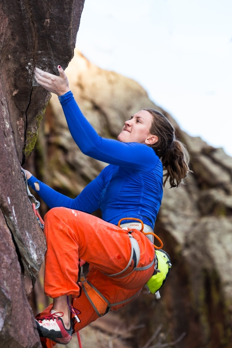 "Photo by Craig Hoffman. First Ascent of ""Element X"" 5.13a X. Eldorado Canyon, CO."